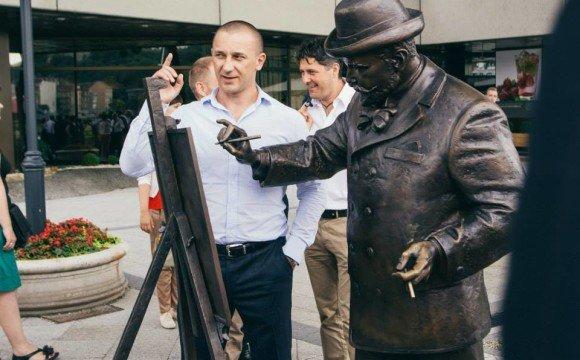 Іван Волошин на відкритті пам'ятника Ігнатію Рошковичу в Будапешті